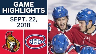 NHL Pre-season Highlights | Senators vs. Canadiens - Sept. 22, 2018