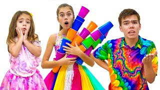Nastya makes a new dress for party. Cool DIY Ideas