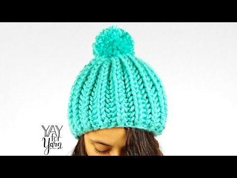 Easy SHORTCUT Brioche Pom Pom Hat - FREE Knitting Pattern | Yay For Yarn