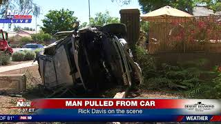 PHOENIX ROLLOVER WRECK: Man pulled from wreckage expected to be OK (FNN)