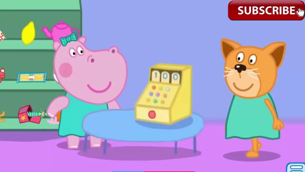peppa pig shopping peppa pig with hippo go shopping best. Black Bedroom Furniture Sets. Home Design Ideas