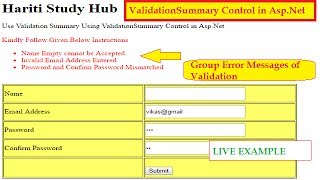 How to Use ValidationSummary Control for Validation in Asp.Net C# | Hindi | Online Learning Classes