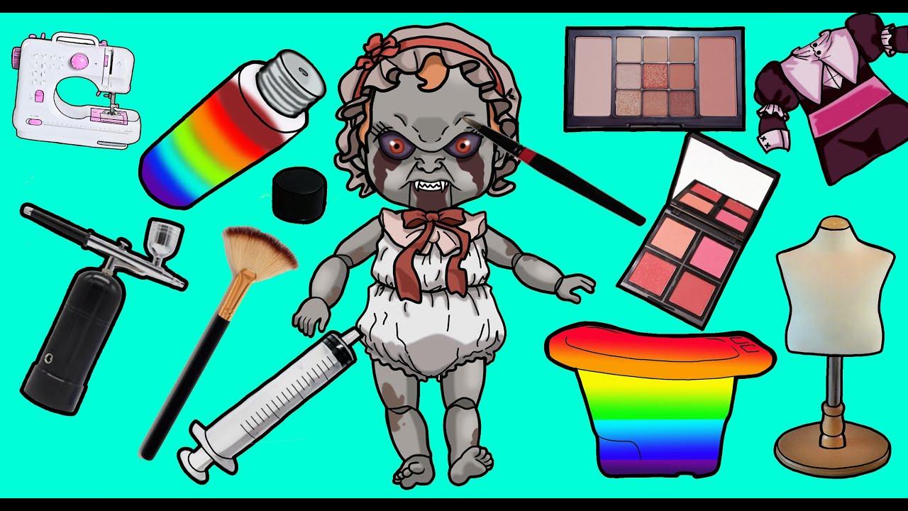 [신비아파트] 인형수리 스톱모션-벨라가 프나펌 수녀로 변신/friday night funkin Paper Doll Dress Up/hand made/Stop Motion Paper