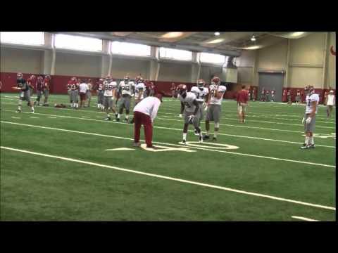 Alabama freshman Deionte Thompson practices at receiver, April 10, 2015