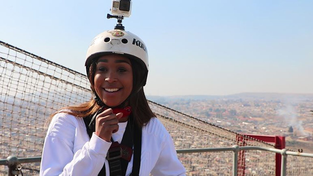 WATCH: Minnie Dlamini bungee jumps from Orlando Towers