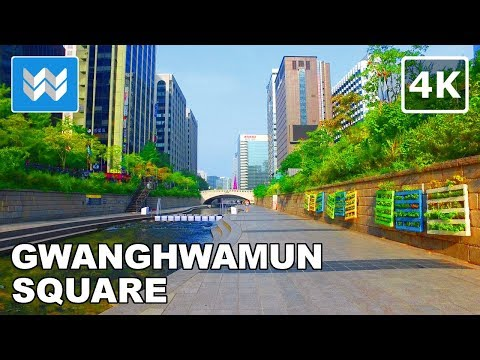 Walking from Cheonggyecheon Stream to Gwanghwamun Square in Seoul, South Korea 【4K】 🇰🇷