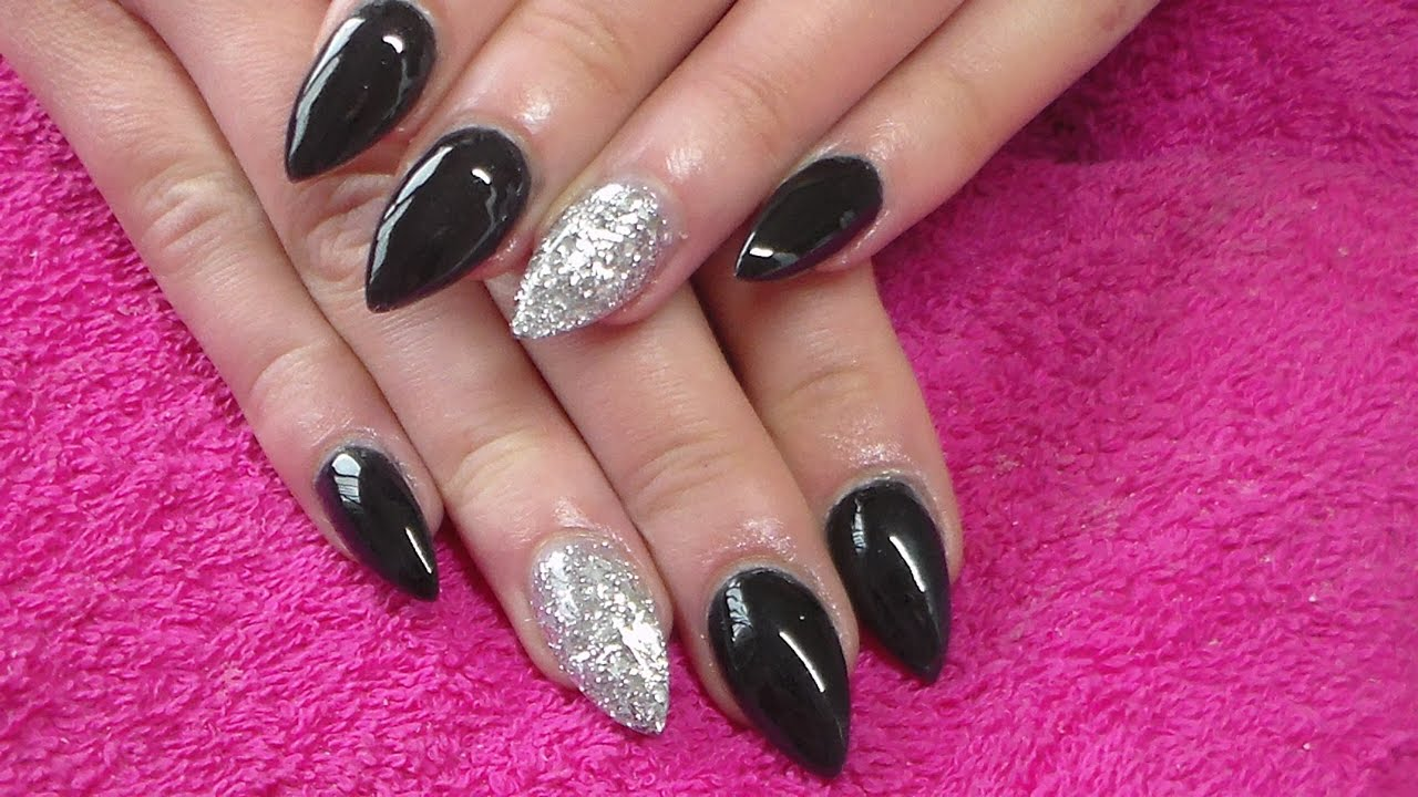 Acrylic Nails | Black Full Set - YouTube