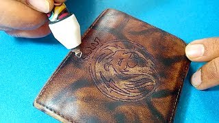 Leather wallet logo engraving / embossing with Cutart Pyrography and wood burning Pen