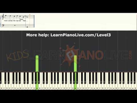 How to play Spiderman Homecoming Theme medium LEVEL 3 piano cover tutorial for kids