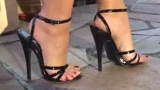 Very sexy walking in high heels shoes