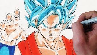 ✎ How to draw Son-Goku (SSGSSJ) [Fukkatsu of F]