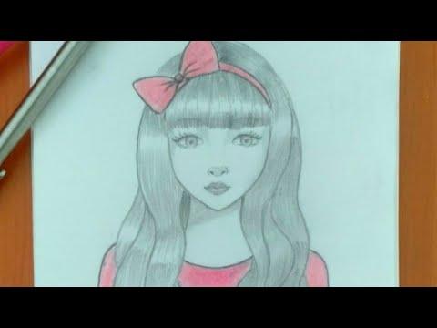 رسم سهل تعليم رسم انمي بنت بطريقة سهلة وبسيطة رسم بنات كيوت