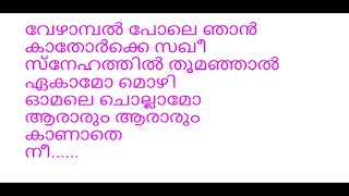Thennal nilavinte karaoke with lyrics |  Vineeth Sreenivasan | Shaan Rahman