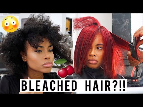 I BLEACHED My Natural Hair Cherry RED!!! 😱