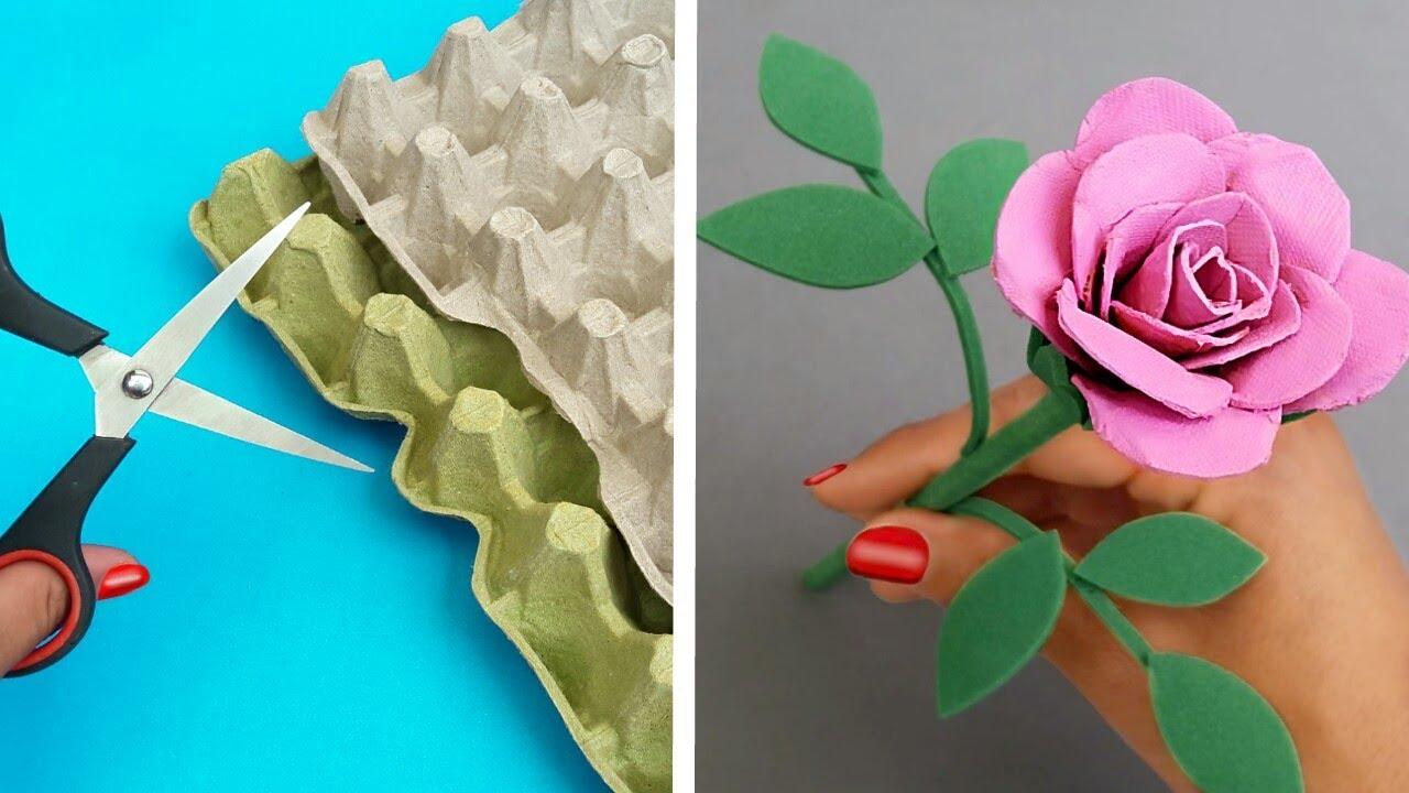 Diy Rosas Con Cartón De Huevo Manualidades Fáciles Reciclaje útil Youtube