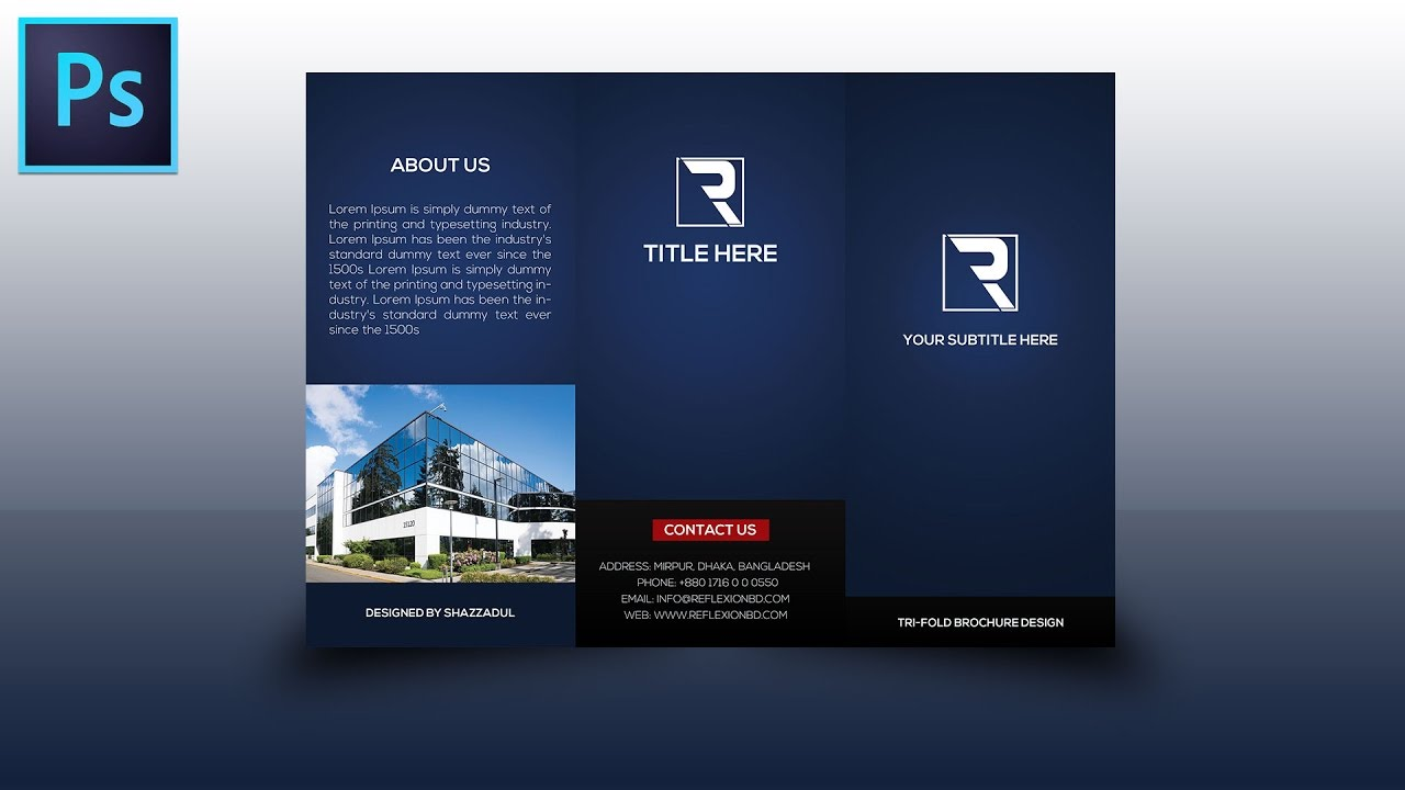 Tri fold brochure design photoshop tutorial youtube for How to design a brochure in photoshop