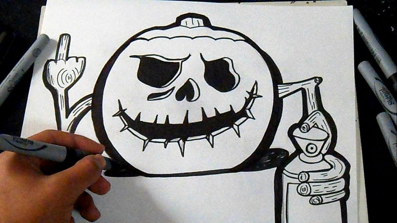 comment dessiner une citrouille d 39 halloween 2 graffiti youtube. Black Bedroom Furniture Sets. Home Design Ideas