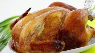 Курица целиком в духовке на соли