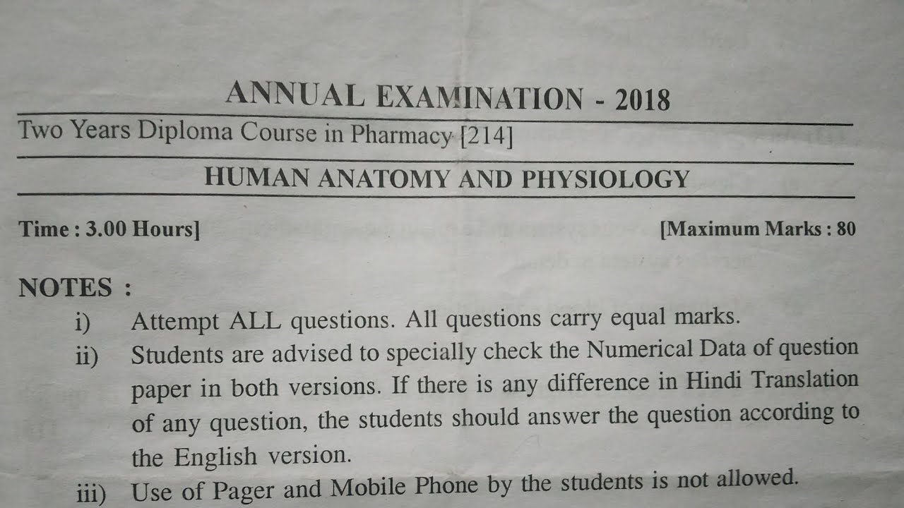 Human anatomy and physiology D pharm 1 yer paper 2018
