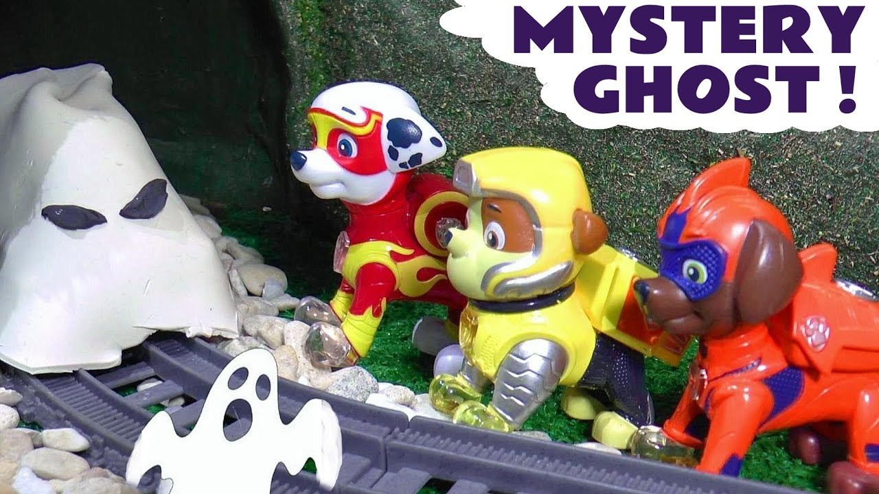 Paw Patrol Mighty Pups Ghost Spooky Challenge in this Halloween Toy Story  Full Episode English