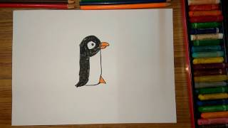 "How to draw Penguin from alphabet ""P"" step by step very easily for kids"
