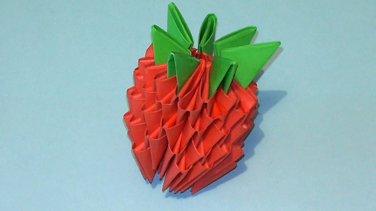 3D origami how to make a strawberry modular origami ... - photo#48