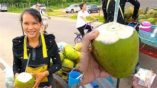 Laos Street Food - Fresh Coconut Water in Vientiane