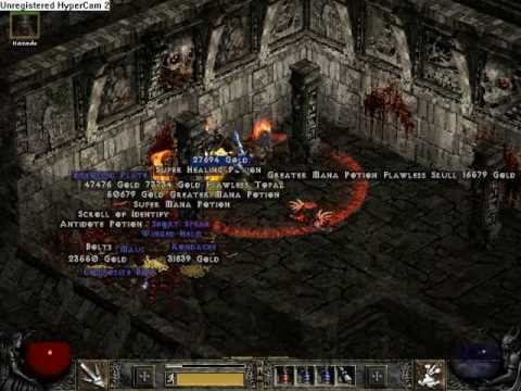 Diablo 2 single player goldfind barbarian running Hell Travincal - YouTube