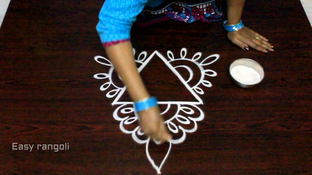 free hand rangoli designs with out dots || simple kolam designs with out dots || muggulu designs #1