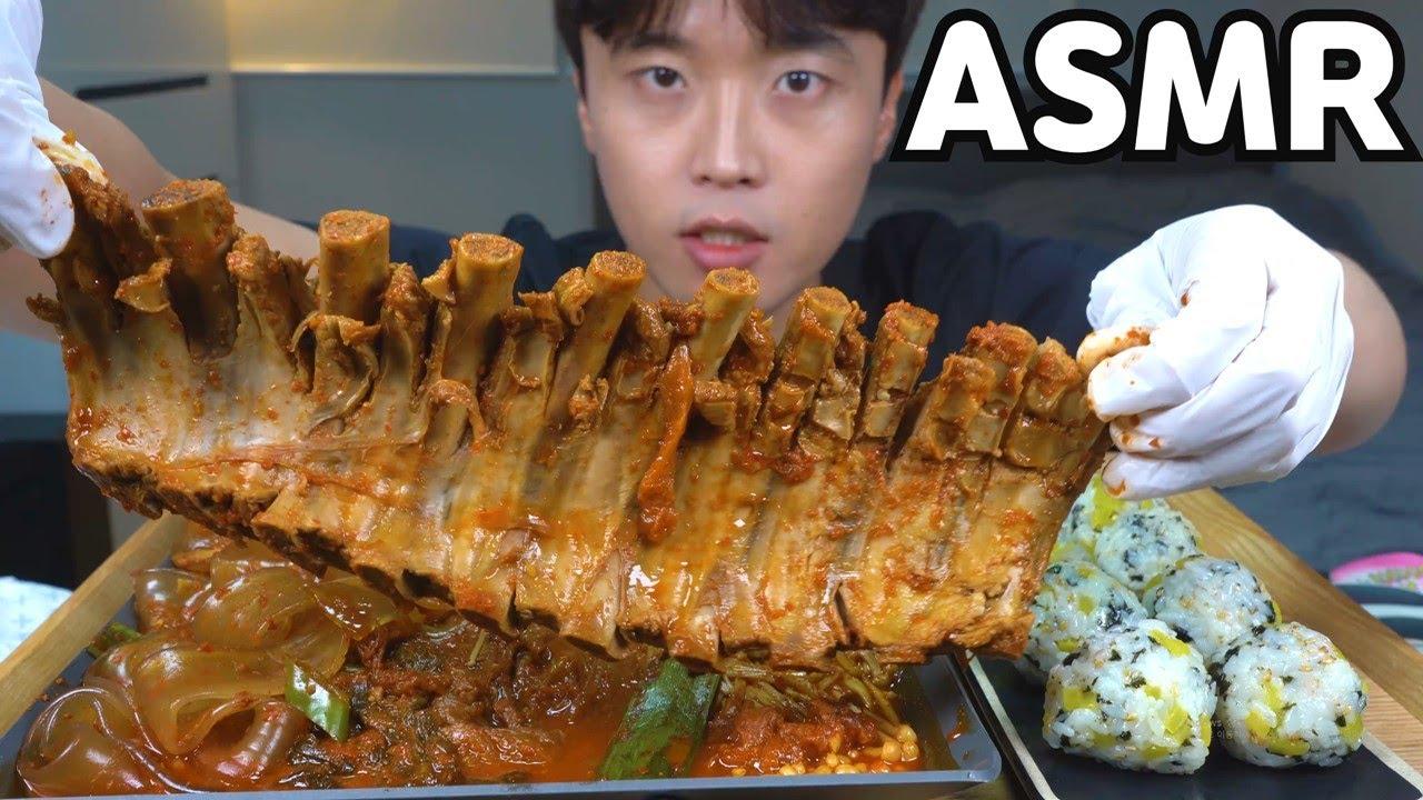 [와차밥] 매콤야들 등갈비김치찜(ft.중국당면 팽이버섯) 주먹밥 리얼사운드 먹방&요리 레시피 Pork Kimchi jjim MUKBANG REAL SOUND EATING SHOW