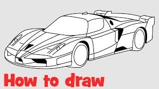 How to draw a car Ferrari FXX step by step