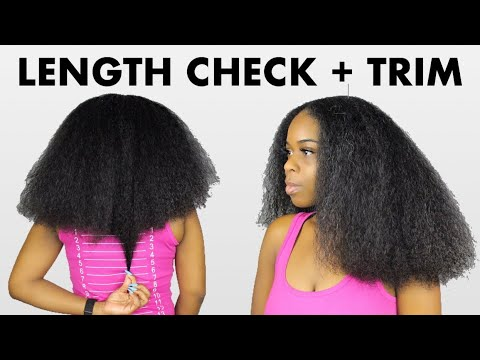 LENGTH CHECK + DRY TRIM on BLOWN OUT Natural Hair!