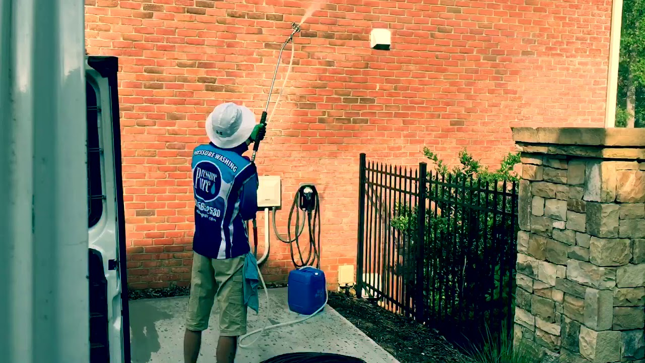 Pressure washing in action!