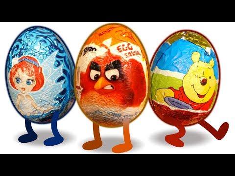100 КИНДЕРОВ Энгри Бердз, Винни Пух, Феи. Surprise Eggs. Kinder