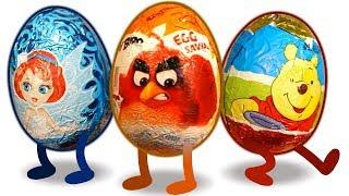 100 КИНДЕРОВ! Энгри Бердз, Винни Пух, Феи. Surprise Eggs. Kinder.