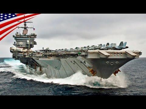 超大型空母(スーパー・キャリアー)の高速航行・アメリカ海軍 - US Navy Supercarrier (Aircraft Carrier) Underway at High Speed