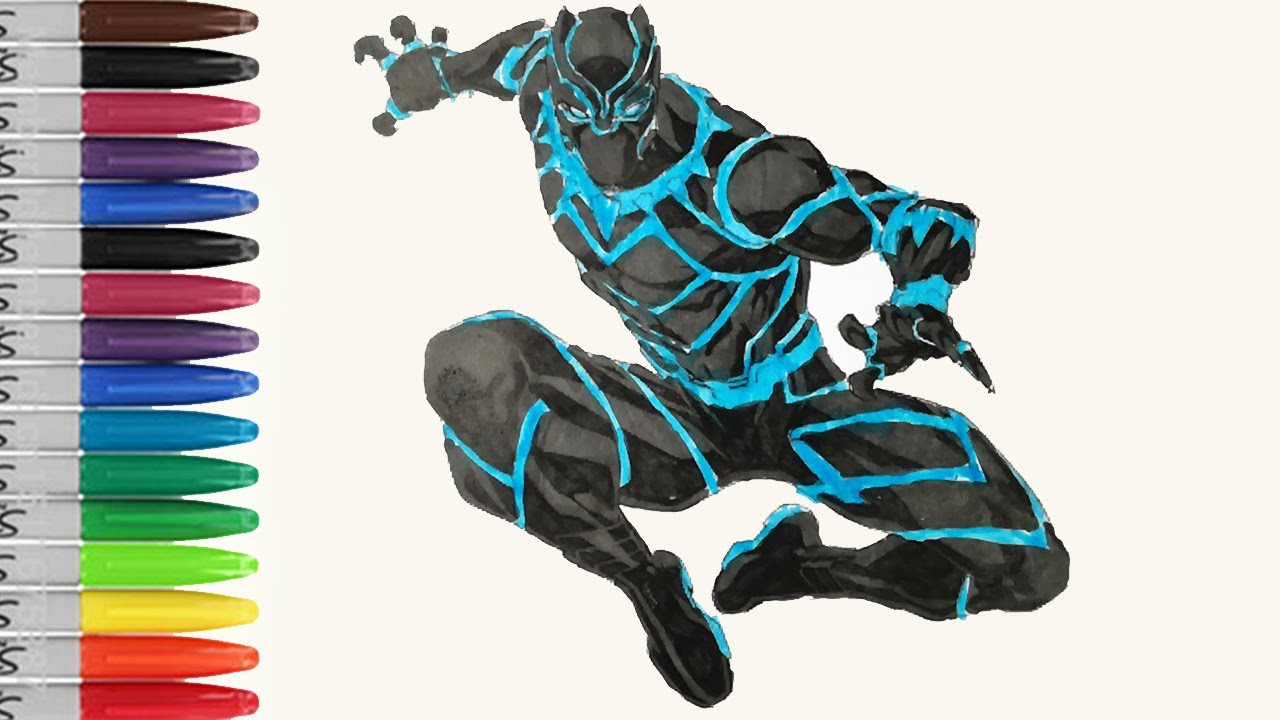 Black PANTHER With Blue Black Suit Coloring Pages SAILANY Coloring ...