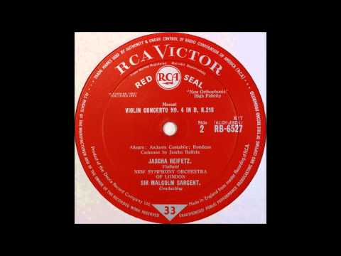 Mozart, Violin Concert No 4 , Heifetz