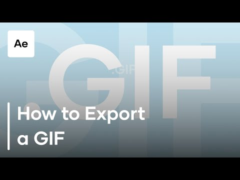 How To Export a GIF from After Effects