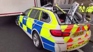 Dashcam Footage Of Lorry Falling On Police Vehicle