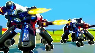 GIANT LEGO POLICE MECHS DESTROY CITY WHILE CATCHING ROBBERS! - Brick Rigs Multiplayer Challenge