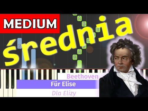 🎹 Dla Elizy (L. van Beethoven, For Elise) - Piano Tutorial (średnia wersja) (MEDIUM) 🎹