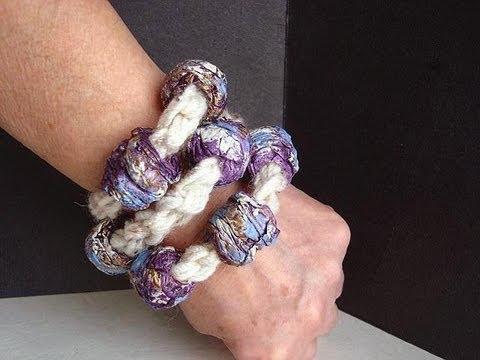 Crochet a papier mache bead bracelet youtube for How to make paper mache jewelry