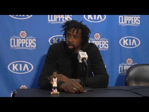 DeAndre Jordan Plays with his Bobble Head [FUNNY] | Post-Game Interview
