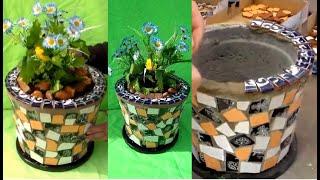 Como Fazer um Vaso Usando Restos de Cerâmica e Cimento