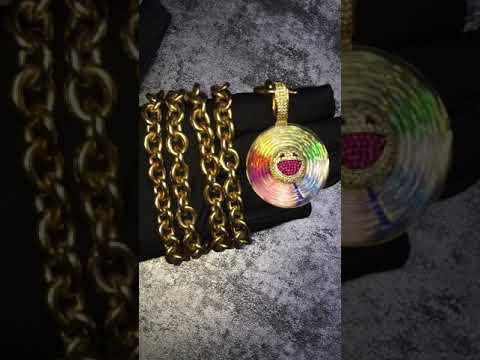 Murakami Takashi Flower Fidget Spinner Chain Diamond Necklace As Seen On J Balvin