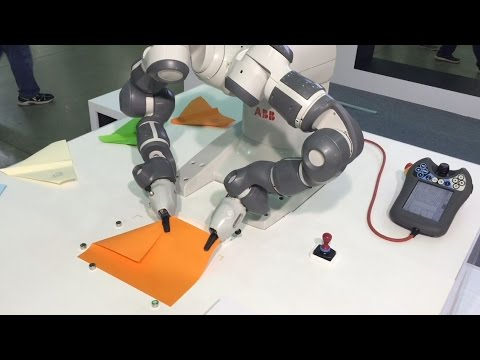 YuMi the dual-arm robot makes paper airplanes - ABB Robotics