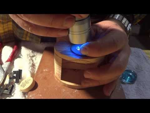 How to bond Glass to Wood with UV Light Glue. German Adhesive Products