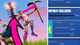 How To Get The FREE Birthday Cake Back Bling in Fortnite! (FREE BACK BLING CHALLENGES)