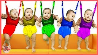 Learn colors for kids with Five babies jumping on the bed Nursery rhymes songs 국민이 침대 색깔놀이 인기 동요